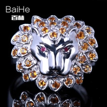 BAIHE Sterling Silver 925 0.6CT Certified H/SI Round 100% Genuine Rubies & Citrine Engagement Women Classic Fine Jewelry Ring(China)