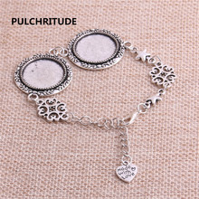 PULCHRITUDE 3pcs 22cm Alloy Antique Silver Chain Bracelet Hand Charm Round Cabochon base Setting Fit 20mm Dia Women Z0035