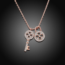 ROXI Vacation  Fashion Women Ladies Rose Gold Color Zircon Lock & Key Pendant Statement Long Necklace Wedding Party Jewelry