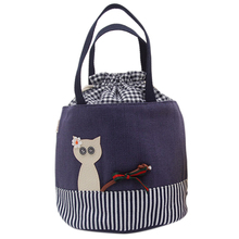 Cartoon Animal Portable Lunch Bag For Women Girls Large Drawstring Storage Food Bag Lunch Box Thermo Bag Cold Canvas