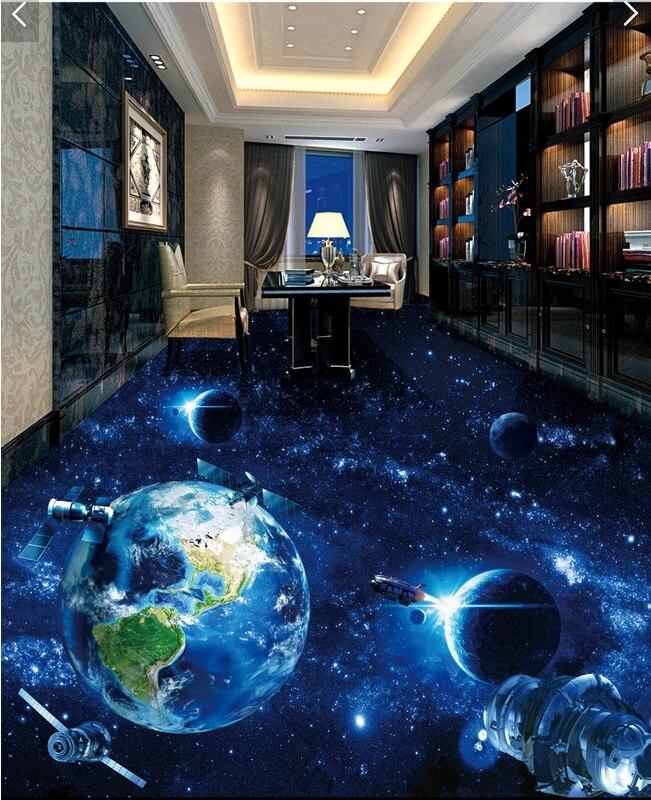 3d pvc flooring custom photo self adhesion waterproof wallpaper universe the earth Milky Way painting wallpaper for walls 3 d<br>