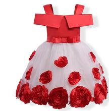 Factory direct sales of new fashion rose flower 3-9 year old cute girl dress