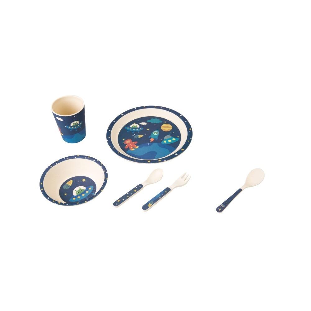 5pcs / set Animal cartoon baby plate bow cup Forks Spoon Dinnerware feeding Set, 100% bamboo fiber Baby children tableware set<br><br>Aliexpress