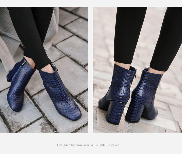 Donna-in 2017 new style ankle boots sexy snake leather women boots retro square toe thick high heel autumn boots 15325-19 (1-4)