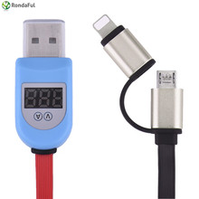 2 in 1 Current Vlot Display protection Fast Charging Sync Data Smart LED Micro USB  Cable For iPhone Huawei Mei Samsung OPPO
