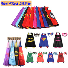 Kids Superhero Capes Double Sides Satin Fabric Kids Cape + Mask Costumes Supplies for Children's Birthday Party Gifts Cosplay