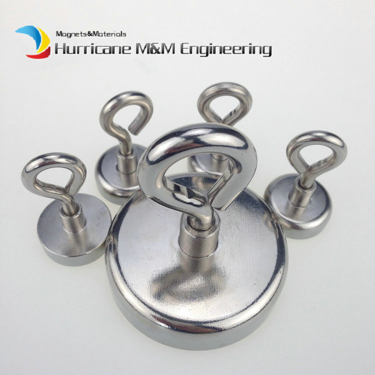 5pcs Lifting Magnet Diameter 60mm with Eye Bolt Clamping Pot Magnet Steel Eye Hook Neodymium Mounting Magnet deap sea salvage <br>