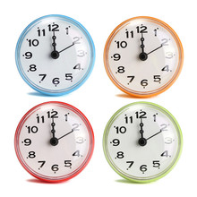 Kitchen Bathroom Bath Waterproof Shower Wall Mini Clock Watch Suction Cup Battery Operated Living Room ABS+Rubber