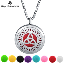 Grace Moments 30mm Round Perfume Locket Pendant Necklace with 60cm Length Love Knot Swirls Hearts Pattern on Locket Best Gift