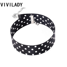 VIVILADY OL Style Cute White Dots Pattern Chunky Chokers Girls Women Lady Costume Bijoux Accessory Christmas Birthday Party Gift