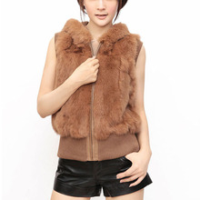 Real Genuine Rabbit Fur Vest Waistcoat With Zip Short Fur gilet for female Coat Fashion Women's Hot Selling Design Free Shipping