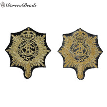 DoreenBeads 1PC Polyester Patches Appliques DIY Scrapbooking Craft Black Gold Badge Clothes Bags Decoration,55mm x 50mm