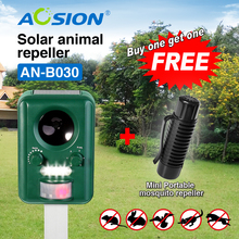 Buy AOSION Solar ultrasonic animal Birds Dogs Cats Repeller Repellent ( Got Ultrasonic Portable mosquito repeller for free)(China)