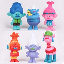Trolls Movie 6Pcs/lot 8cm Dreamworks Figure Collectible Dolls Poppy Branch Biggie PVC Figures Doll Toy Trolls Figures Toys