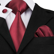 2017 Fashion Wine Red Solid Tie Hanky Cufflinks 100%Silk Necktie Ties For Men Formal Business Wedding Party C-430(China)