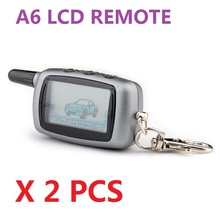 Wholesale Free shipping 2PCS A6 two way LCD remote pager for A6 Two way auto alarm system Only LCD remote Keychain A6