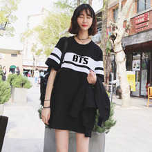 BTS Bangtan Boys 2016 New Hot Summer Women EXO KPOP LUHAN College Black and white Mixed colors Cotton Letters printed dress
