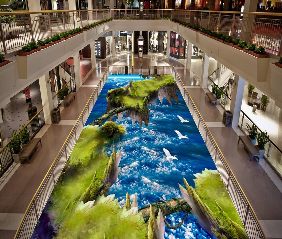 3D mural floor Blue sky Photo floor wallpaper 3d stereoscopic  Waterproof floor mural painting  PVC waterproof floor<br>