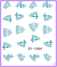 6 PACK/ LOT  GLITTER WATER DECAL NAIL STICKER CHINA BLUE FLOWER TRIBAL TOTEM PATTERN SY1083-1088