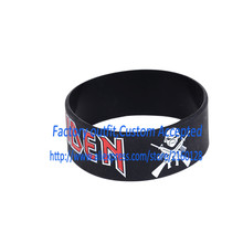 "IRON MAIDEN Silicone 1"" Wide Filled in Colour Debossed Wristband Bracelet"
