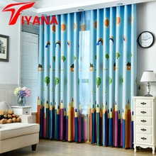 Tiyana New Cartoon Style Color Pencils Window Cloth Sheer Tulle Voile Curtain Drape for Kids Living Room Bedroom Custom P178Z20(China)