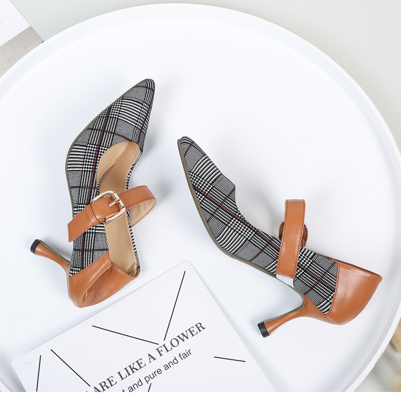 FOREADA Genuine Leather Shoes Women Sexy Party Shoes Ladies High Heels Pumps Plaid Buckle Strap Pointed Toe Shoes 2018 Spring