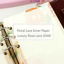 Jamie Notes Luxury Rose Lace Inner Paper A56 For Filofax Dokibook Notebook 2018 Planner Vintage Color Diary Refill Filler Paper