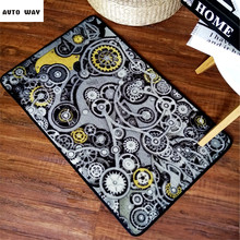 Industrial style carpet mechanic gear mats original design  Non-slip door mat Creative modern style bedroom rug washable