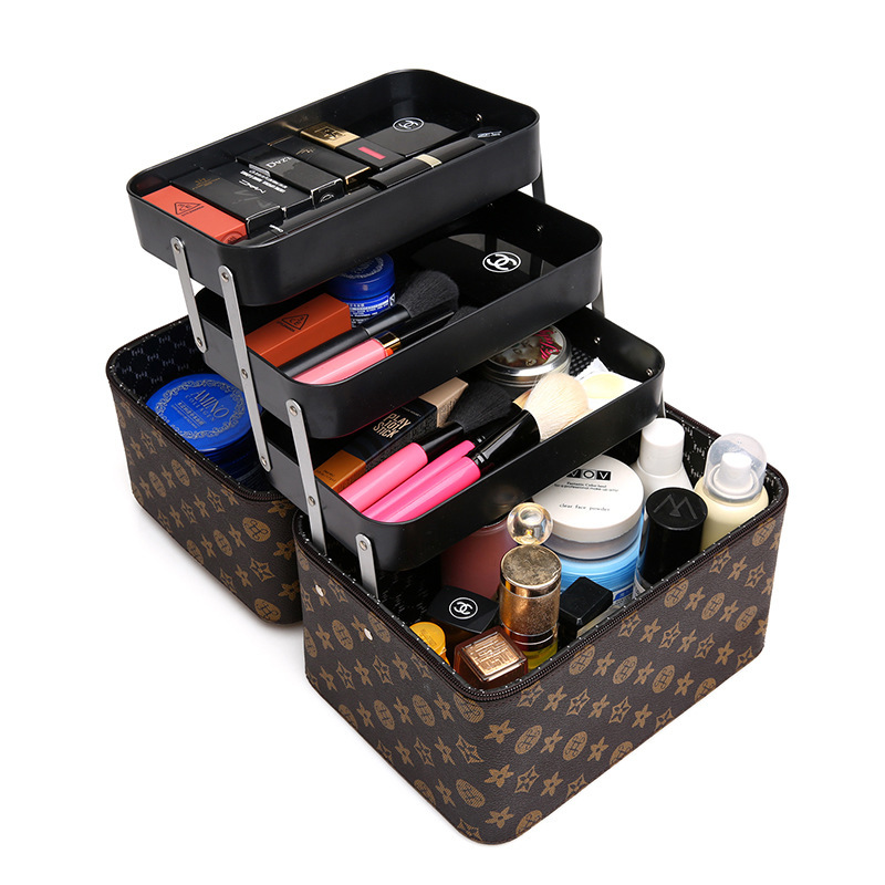Multi-storey Large Professional Cosmetic Case Women Travel Makeup Bag Beauty Necessity Toiletry Pouch Organizer Case<br>