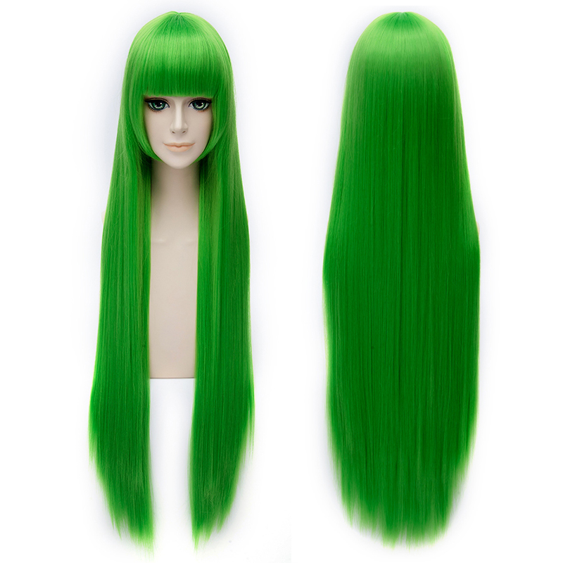 100cm Beautiful Womens Long Straight Synthetic Hair High Quality Green Cosplay Wig Heat Resistant Costume party Wigs Neat Bangs<br><br>Aliexpress