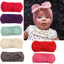 Naturalwell Mul-color Kids Ear Warmer Hairband Bow Knot Headwrap baby Girl Crochet Turban Headband Knitted Hair Band Accessories