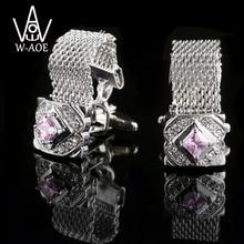 WAOE 2017 New Arrival Fashion Luxury Crystal Cuff Links Watch Strap Design Shirt Cufflinks Mens Wedding Gemelos Cuff Men Jewelry