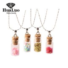 Silver Plated Necklace Wishing Bottle Glass Necklaces & Pendants Jewelry Accessories Luminous Gem Pendant for Women N2114-N2125(China)