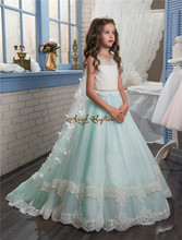 2017 New Princess Mint and white Flower Girls' Dresses Sheer Crew Neck appliques bead Formal Girl's Pageant Dresses with train