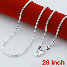 Fashion 925 Sterling Solid Silver lots 1mm Snake Chains Necklaces 28 inch NEW silver jewelry cheap necklaces(China)