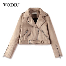 Buy Vodiu Coat Jacket Women Bomber Jacket Leather Suede Coat Short Slim Zippers Jackets Female Sashes Faux Leather Jacket Moto Biker for $31.65 in AliExpress store