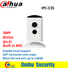 Dahua WiFi CCTV Camera 3MP IPC-C35 CCTV lens2.3mm IR10m built in MIC Easy4ip cloud Micro SD card up to 128GB without dahua logo(China)