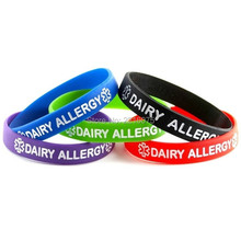 500pcs Debossed logo Dairy Allergy Medical Alert wristband silicone bracelets free shipping by DHL express