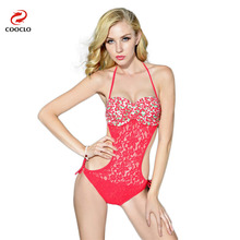 COOCLO   Print  Sexy Lace One Piece Swimsuit Push Up Swimwear Women Bathing Suit