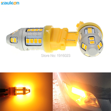 2pcs Zauleon 3157 3156 3057 3056 P27/7W T25 Amber Yellow Turn Signal Light with 30SMD 2835 Auto LED Car replace bulbs