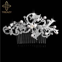 TREAZY Bridal Wedding Flower Crystal Rhinestones Diamante Imiated Pearls Women Hair Clip Combs Hair Accesories(China)