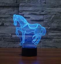 Lovely Horse 3D LED Night Light 7 Color Dimming illusion Bedroom Lamp Holiday Light  Child Kids Toys For  Party