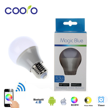 LED Bulb Light Bluetooth E27 RGBW 4.5W Bluetooth 4.0 Smart LED Bulb Timer Color changeable by IOS / Android APP(China)
