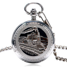 TIEDAN Silver Retro Train Locomotive Engine Design Pocket Watch Mechanical Pocket Watch with Double Hunter Women Men P1035C