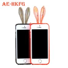 Phone Case for iphone crystal rabbit ears dust shell soft shell phone protective cover plus transparent border free gift Lanyard