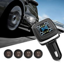 Professional Auto Wireless Universal TPMS Tire Pressure Sensor Tire Pressure Monitoring System with LCD Display Show Temperature(China)