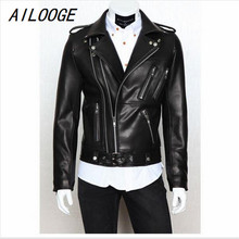 Buy AILOOGE Male Leather Jacket PU Zipper Biker Jacket Leather Men's Foreign Trade Jaqueta Couro Masculina Black Leather Jacket Men for $69.98 in AliExpress store