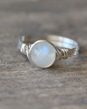 2pcs  wire wrapped Moonstone ring Handmade  retro Fashion unique Women gift crystal jewelry female ring