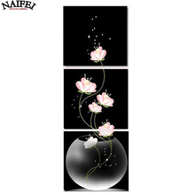 3pcs/set 5D DIY Diamond Painting abstract Flower,black and white,Full Square Diamond Embroidery,Cross Stitch painting Home Decor(China)
