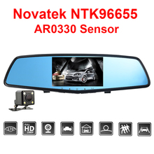 E-ACE Car Dvr Novatek NTK96655 Auto Camera 4.5 Inch IPS Rearview Mirror Dual Camera Lens Night Vision FHD 1080P Video Recorder